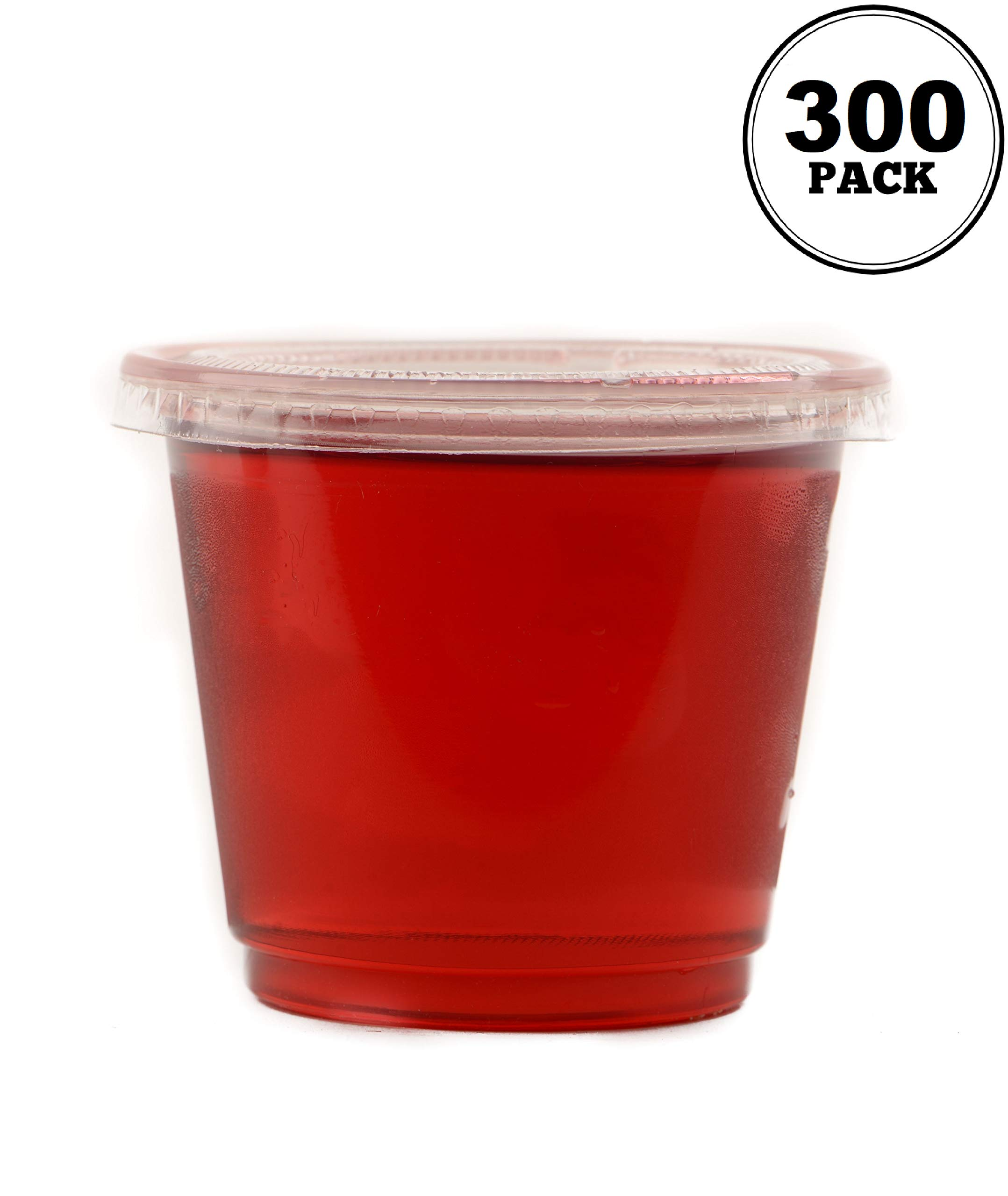 EcoQuality [300 Pack] 4 Oz Leak Proof Plastic Condiment Souffle Containers with Lids - Plastic Portion Cup with Plastic Lid Perfect for Sauces, Samples, Slime, Jello Shot, Food Storage & More! by EcoQuality