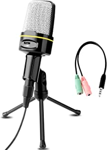 Professional Condenser Microphone, Venoro Plug & Play Microphone with Tripod for PC, Computer, Phone for Games, Podcast, Broadcasting (Black)