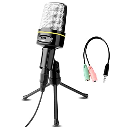 Professional Condenser Microphone, Venoro Plug & Play Home Studio Condenser  Microphone with Tripod for PC, Computer, Phone for Studio Recording,