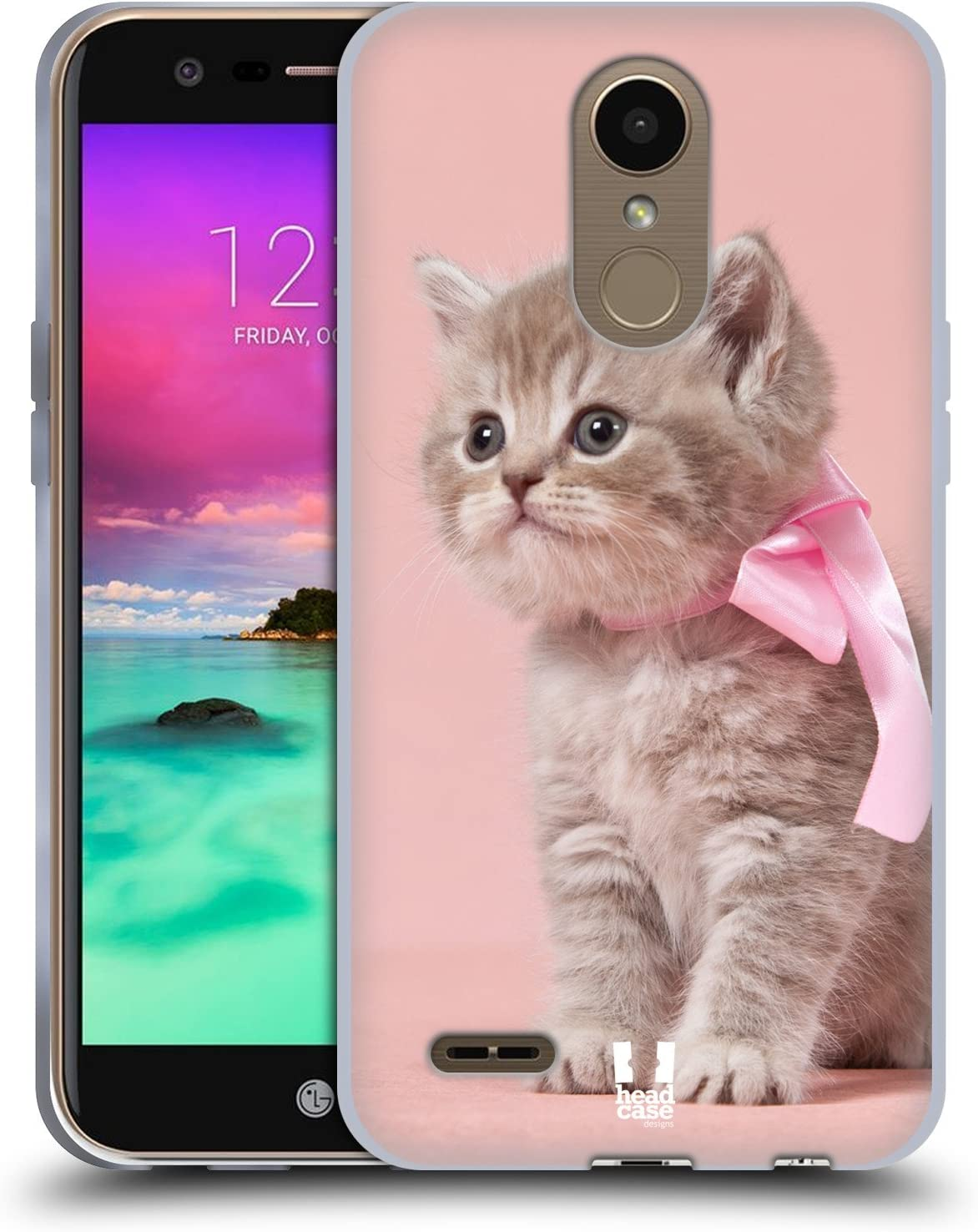 Case+Film Flexible Soft Gel TPU Protector Snap on Fits LG K20/M257 Harmony/VS501 K20V/Grace LTE L59BL/K10 2017/TP2608/K20 Plus/LV5 M250/ V5 Back Cover Pink Cute Cat/Kitty/Kitten with Bow
