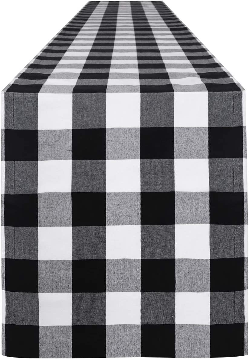 Syntus 14 x 108 inch Buffalo Check Table Runner Cotton-Polyester Blend Handmade Black and White Plaid for Family Dinner, Outdoor or Indoor Parties, Thanksgiving, Christmas & Gathering: Home & Kitchen