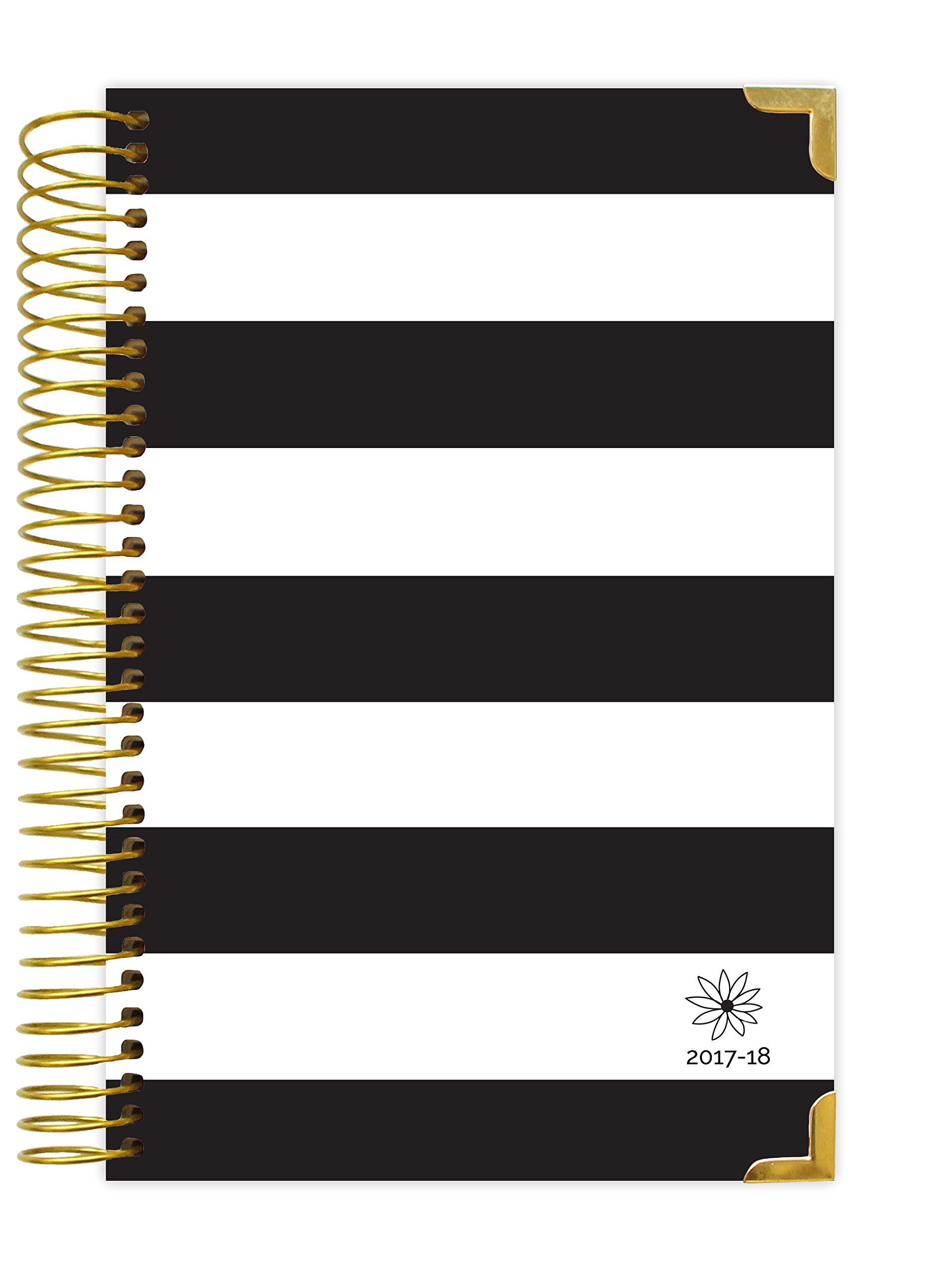 bloom daily planners 2017-18 Academic Year HARD COVER Daily Planner - Passion/Goal Organizer - Monthly and Weekly Datebook and Calendar - August 2017 - July 2018 - 6'' x 8.25'' - Black & White Stripes