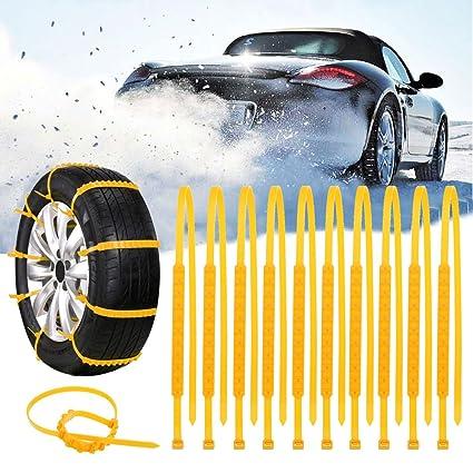 GOZAR 10Pcs Carro De Invierno Nieve Anti-Deslizamiento Rueda De Ruedas De Neumáticos Cinturón De