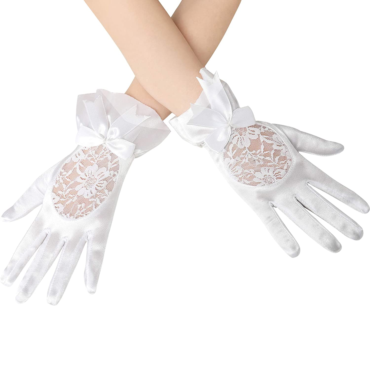 BABEYOND Floral Lace Gloves for Wedding Opera Party 1920s Flapper Lace Gloves Stretchy Satin Gloves Adult Size