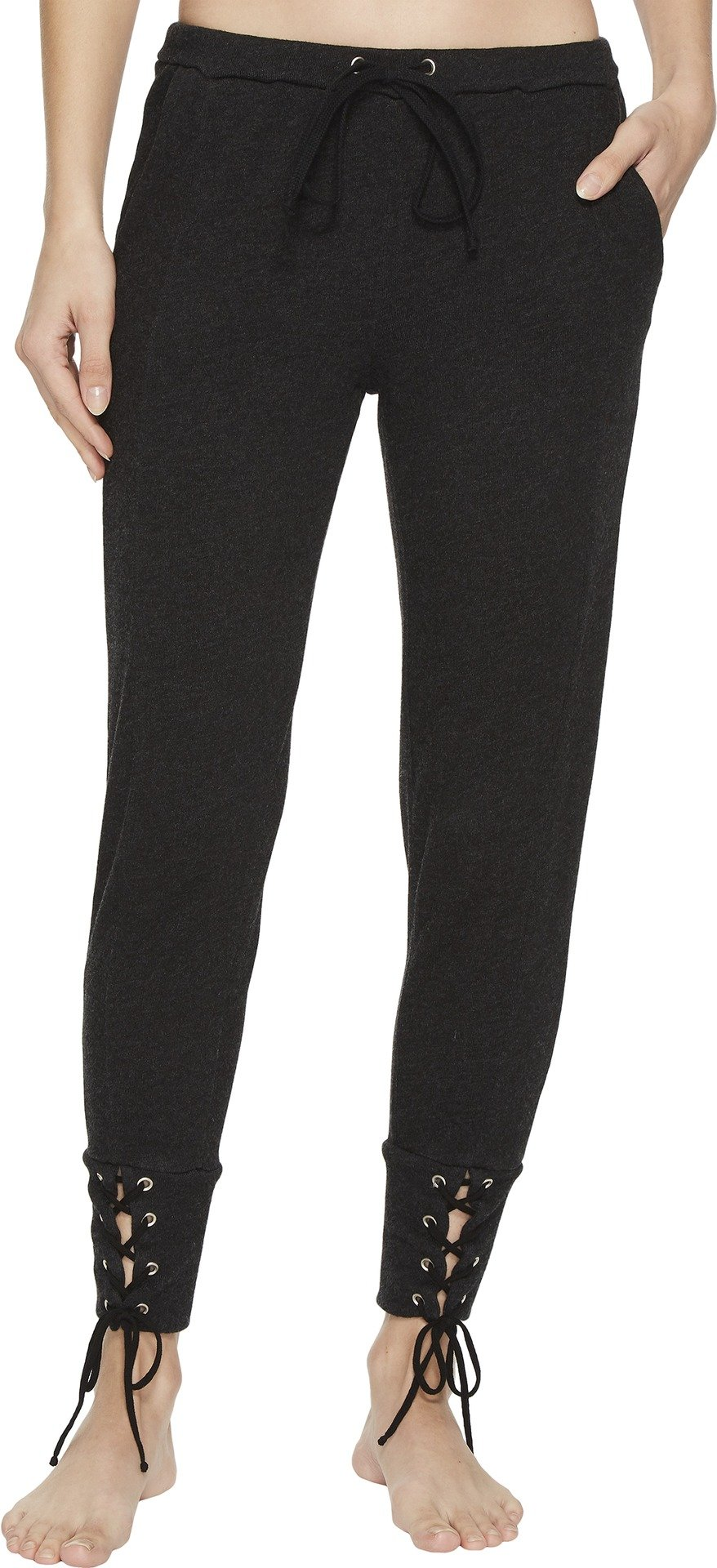 Hard Tail Women's Fitted Sweatpants With Lace-Up Cuff Black Small