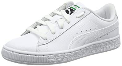 new product 990cd 7ac8d Puma Unisex Kids  Basket Classic LFS Jr Low-Top Sneakers, White 3 UK