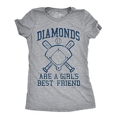 11a4a82c75 Womens Diamonds are A Girls Best Friend Tshirt Funny Cute Baseball for  Ladies (Heather Grey