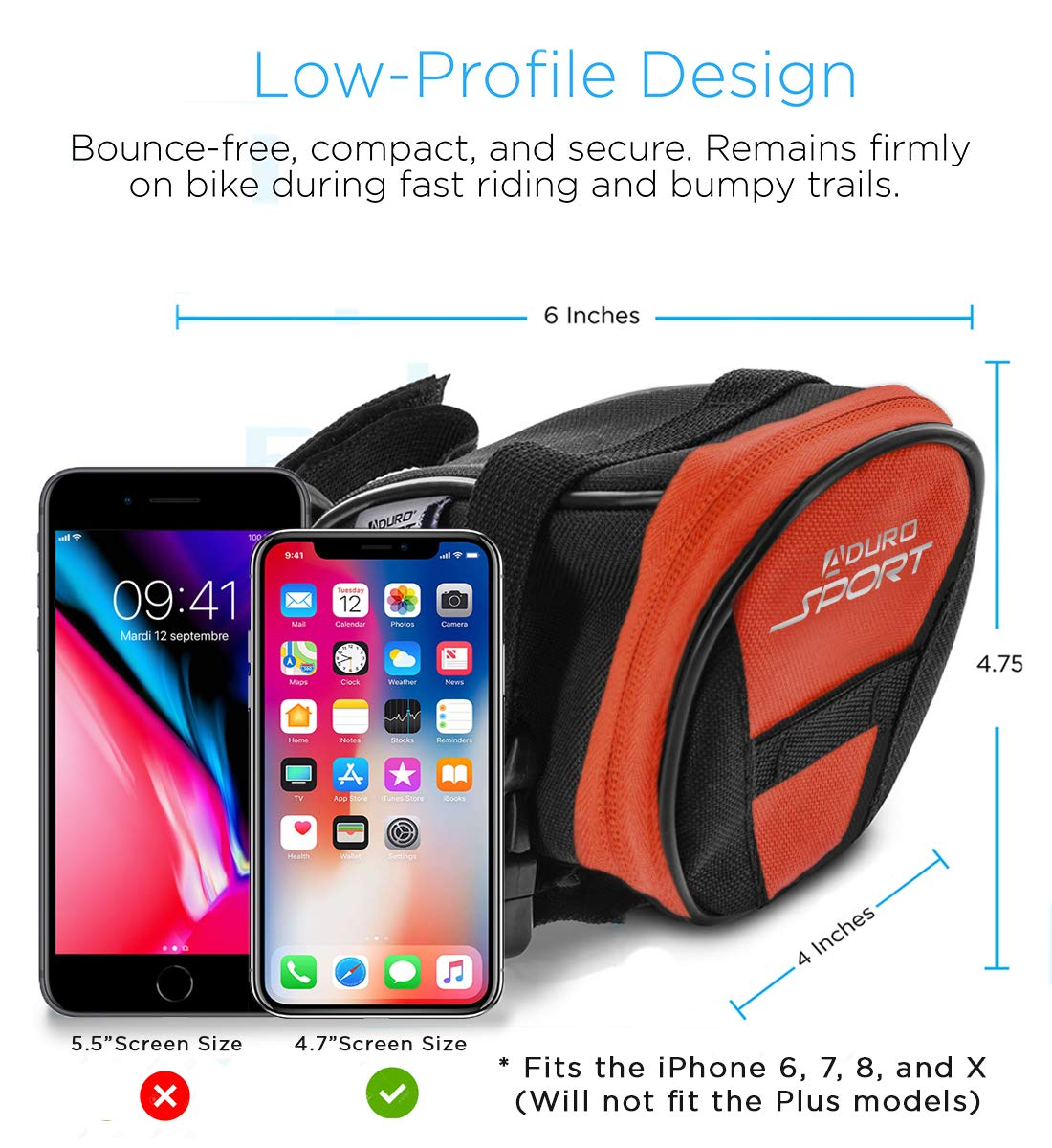 Water Resistant Bike Storage Pack Seat Pouch with Taillight Hanger to Keep You Safe Aduro Bike Bag Bike Seat Pack Strap-On Saddle Bag Under Seat for Cycling All Bikes