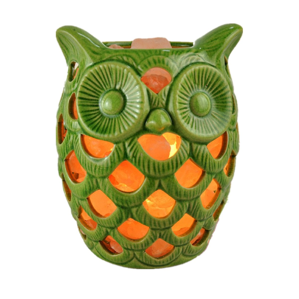 Owl Salt Lamp Himalayan Salt Lamp with Rock Salt, Crystal Rocks Lamp with Hollowed-Out Ceramic Jar+Brightness Dimmable Control,UL Approved,Birthday Gifts(7lb) (Green)