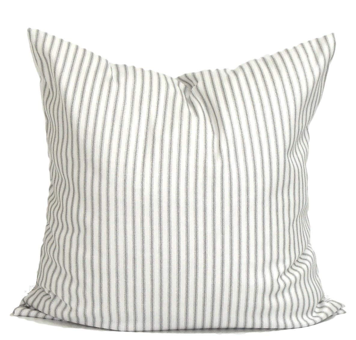 Gray Ticking Pillow Cover