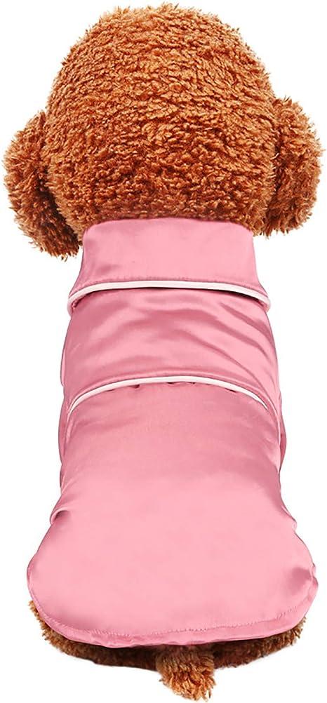S, Pink Lifeunion Small Dogs Cats Pajamas Pet Soft Silk Lapel Two-Legged Sleepwear Shirt for All Season
