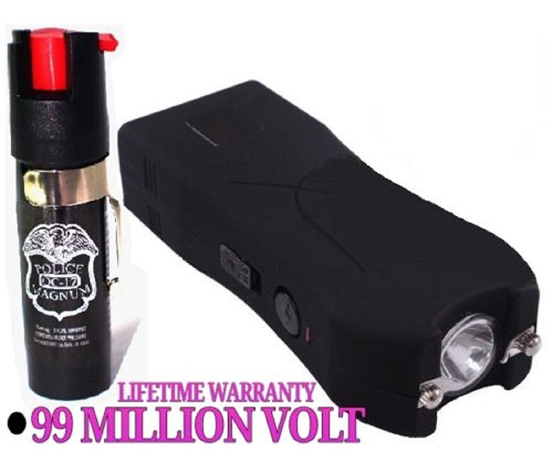 Polar Bear's Self Defense Black 99 Million Volt Stun Gun w/LED Light + Free taser Holster & Pepper Spray