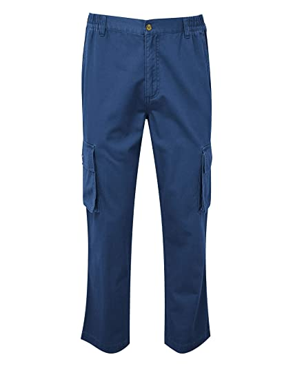 ed14fc9e00f4 Cotton Traders Mens Casual Design Regular Fit Cargo Comfort Trousers 74cm  Colour French Navy Size Medium