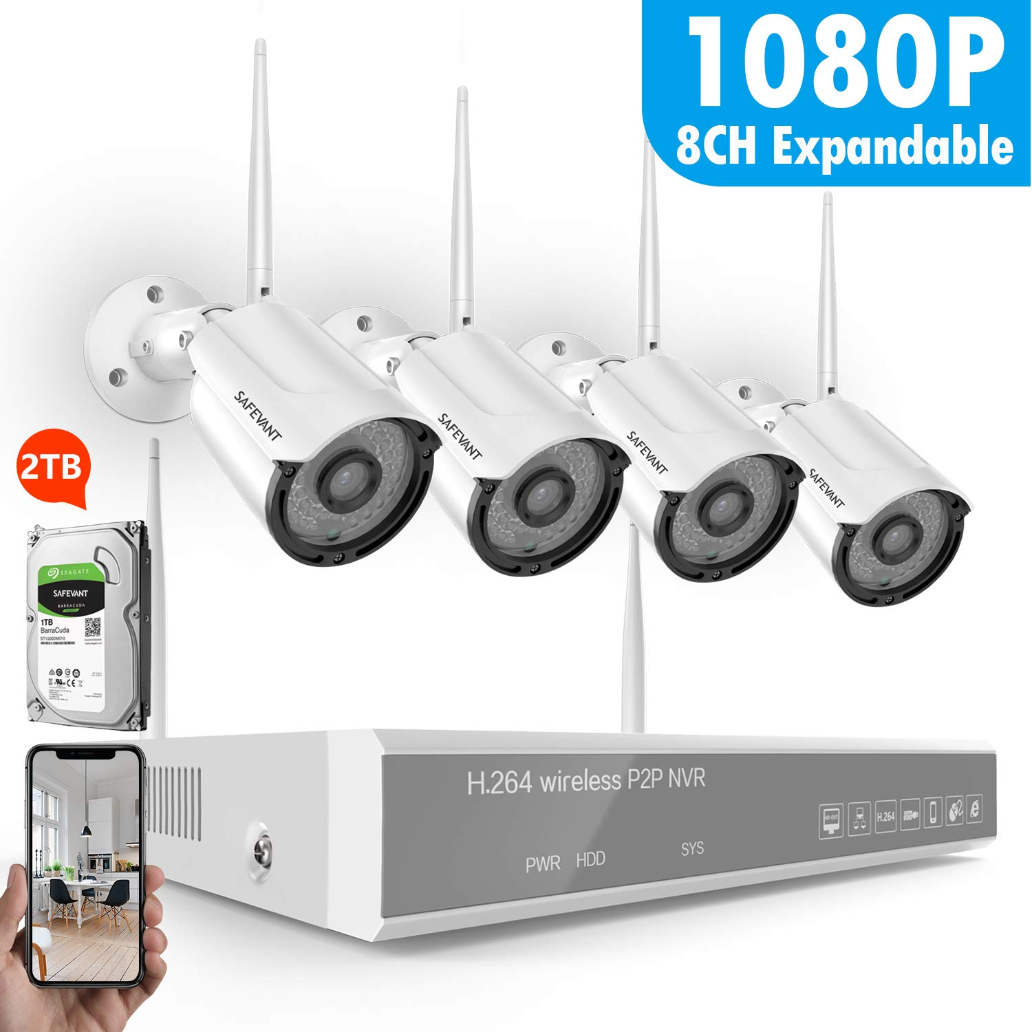 1TB Hard Drive Security Camera System Wireless,Safevant 8CH 1080P Security Camera System 1080P NVR/&8CH Expandable ,4PCS 960P Inddor//Outdoor IP66 Wireless Security Cameras,Plug/&Play,NO Monthly Fee Safesky