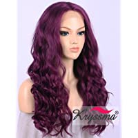 K'ryssma Purple Lace Front Wig Synthetic for Cosplay, Long Wavy Wigs for Women Half Hand Tied 22 Inch
