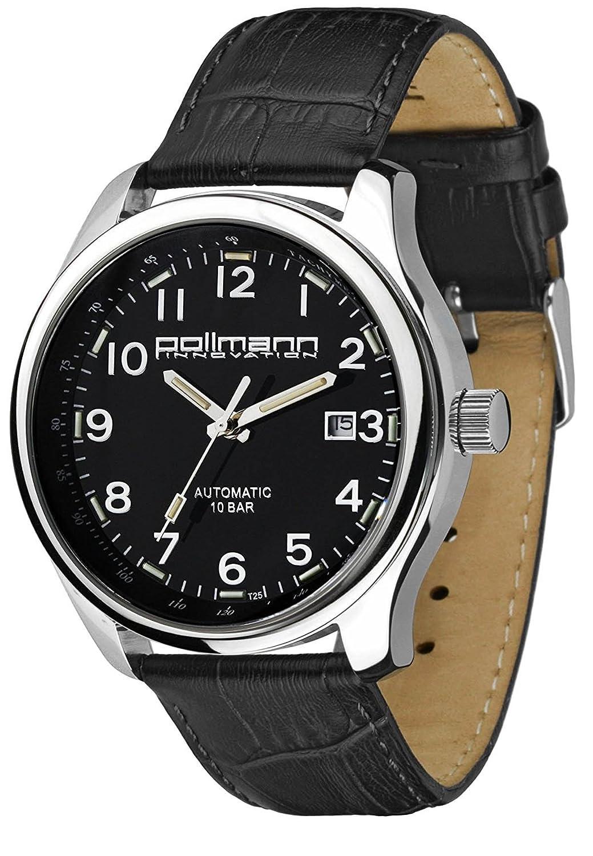 Pollmann Herrenuhr Lederband Tritium Edelstahl Automatik 59474