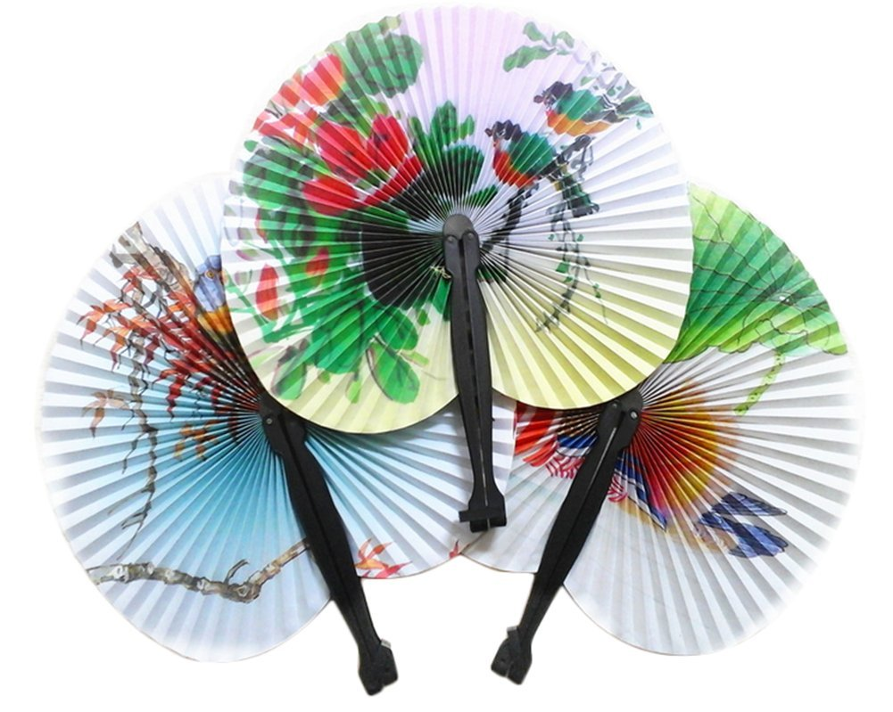 Milopon Hand Fan Hand Held Paper Folding Fans Vintage Retro Fans for Dancing Wedding Party