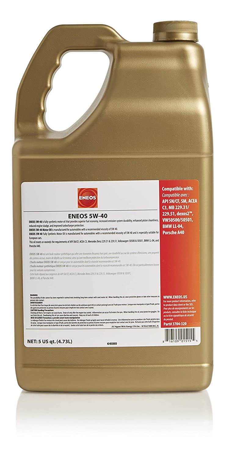 Amazon.com: Eneos 5W-40 Fully Synthetic Motor Oil, 5 Quart (Pack of 1): Automotive