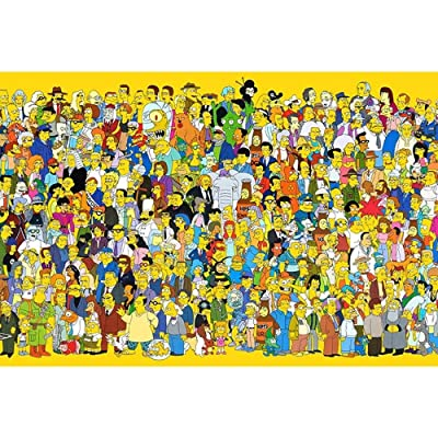 Jqchw Wooden Puzzle HD Printed Poster Jigsaw Puzzle 1000 Pieces Home Puzzle Game Puzzle Anime Simpson Adult Decompression Intelligence Toys Collection Puzzle Educational Gifts for Children: Toys & Games