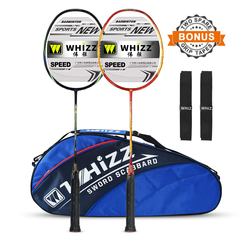 WHIZZ 2 PCS 100% Graphite Badminton Racket Set, Frame/String Protection Design, Large Badminton Bag / 2 Grip Tapes Included (Black/Red)