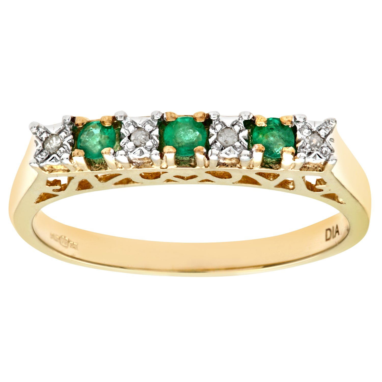 Naava Bague Femme Or Jaune 9 Carats 2 1 Gr Emeraude Diamant