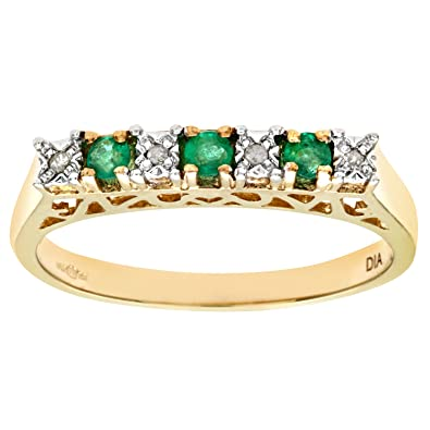 Naava Ladies 9ct White Gold Diamond And Emerald Eternity Ring JTp40