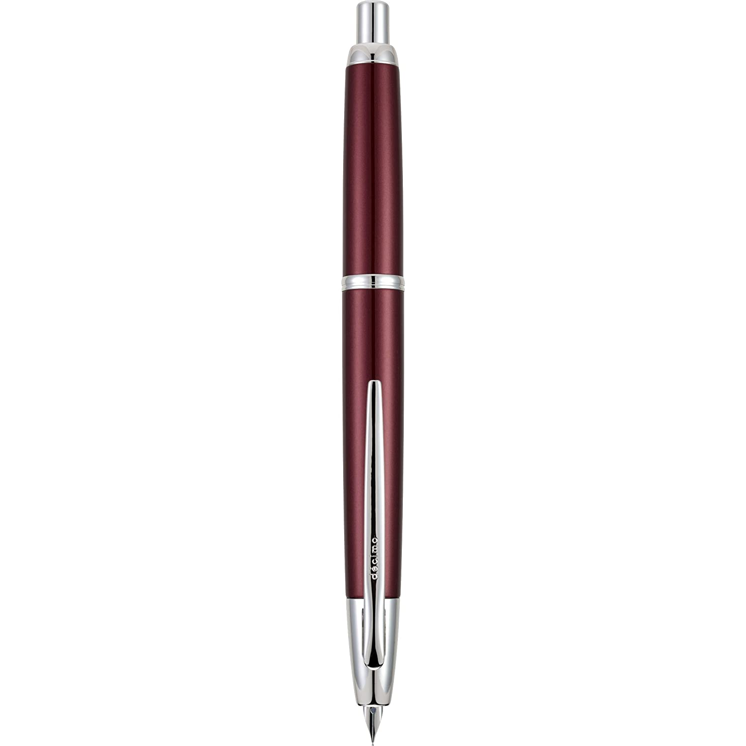 PILOT Vanishing Point Decimo Refillable & Retractable Fountain Pen, Burgundy Barrel with Rhodium Accents, Fine Nib (65338)