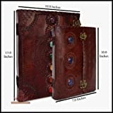 Leather Journal Book Seven Chakra Medieval Stone Notebook with Three Stone Chakra Handbook Embossed Handmade Book of Shadows Notebook Office Diary College Book Poetry Book Sketch Book