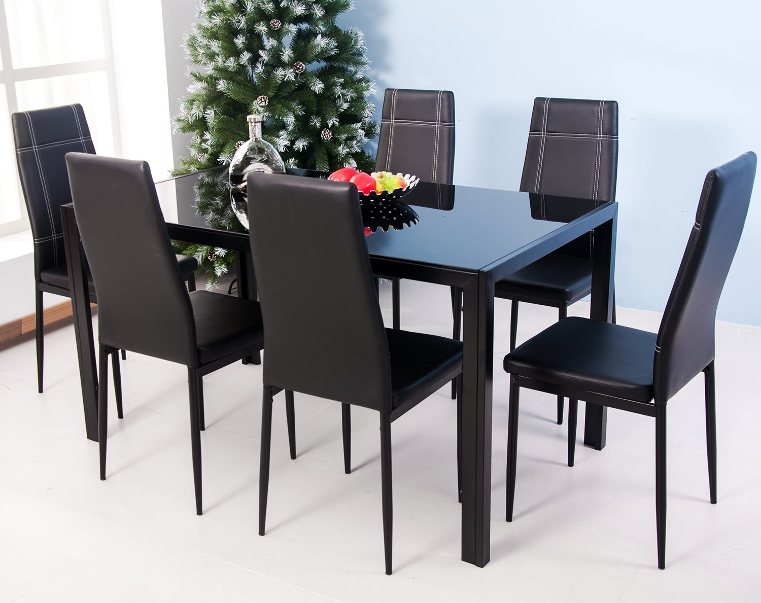 Amazon.com - Merax 7-Piece Glass Top Dining Set - Table & Chair Sets