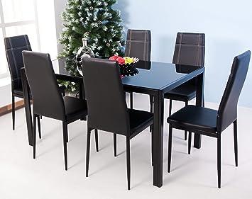 Merax 7 Piece Glass Top Dining Set