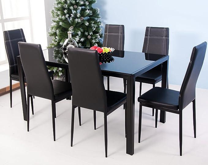Review Merax 7-Piece Glass Top Dining Set