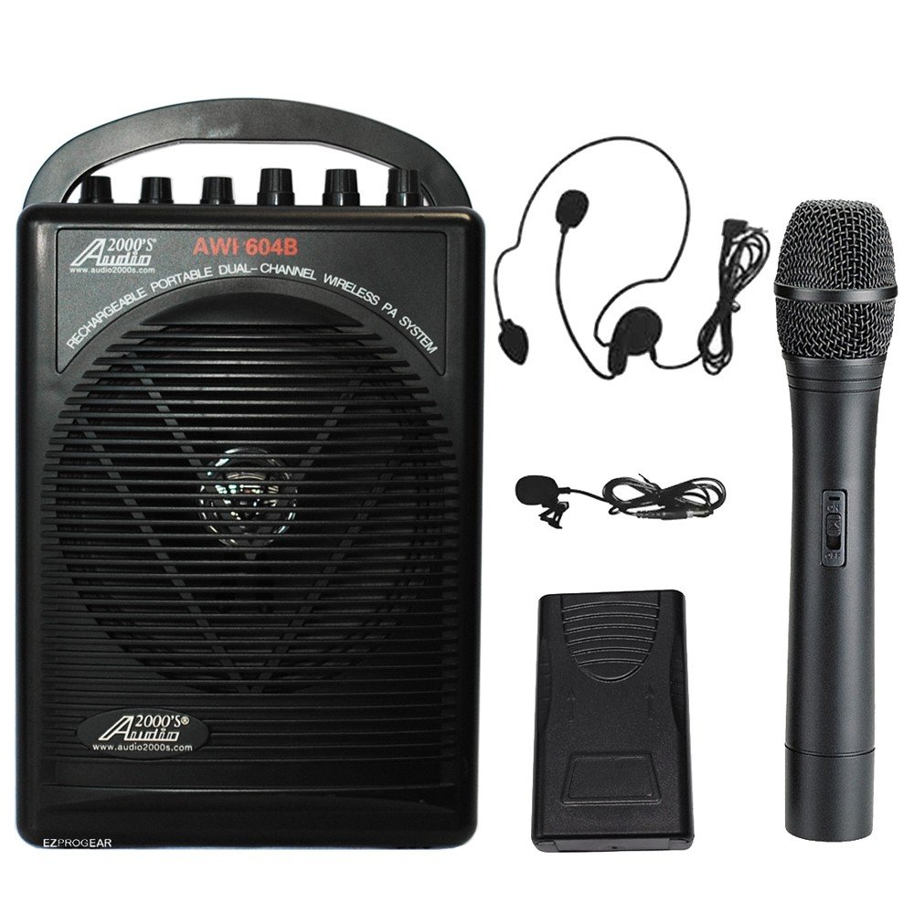 Audio 2000 PA604BHL Battery Powered Dual Channel Wireless Microphone Portable PA System