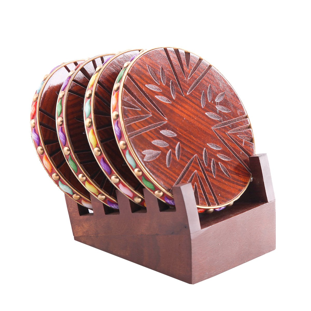 The Royal Collection Handmade Coasters Leaf Carving Design Set of 4 With Coaster Holder