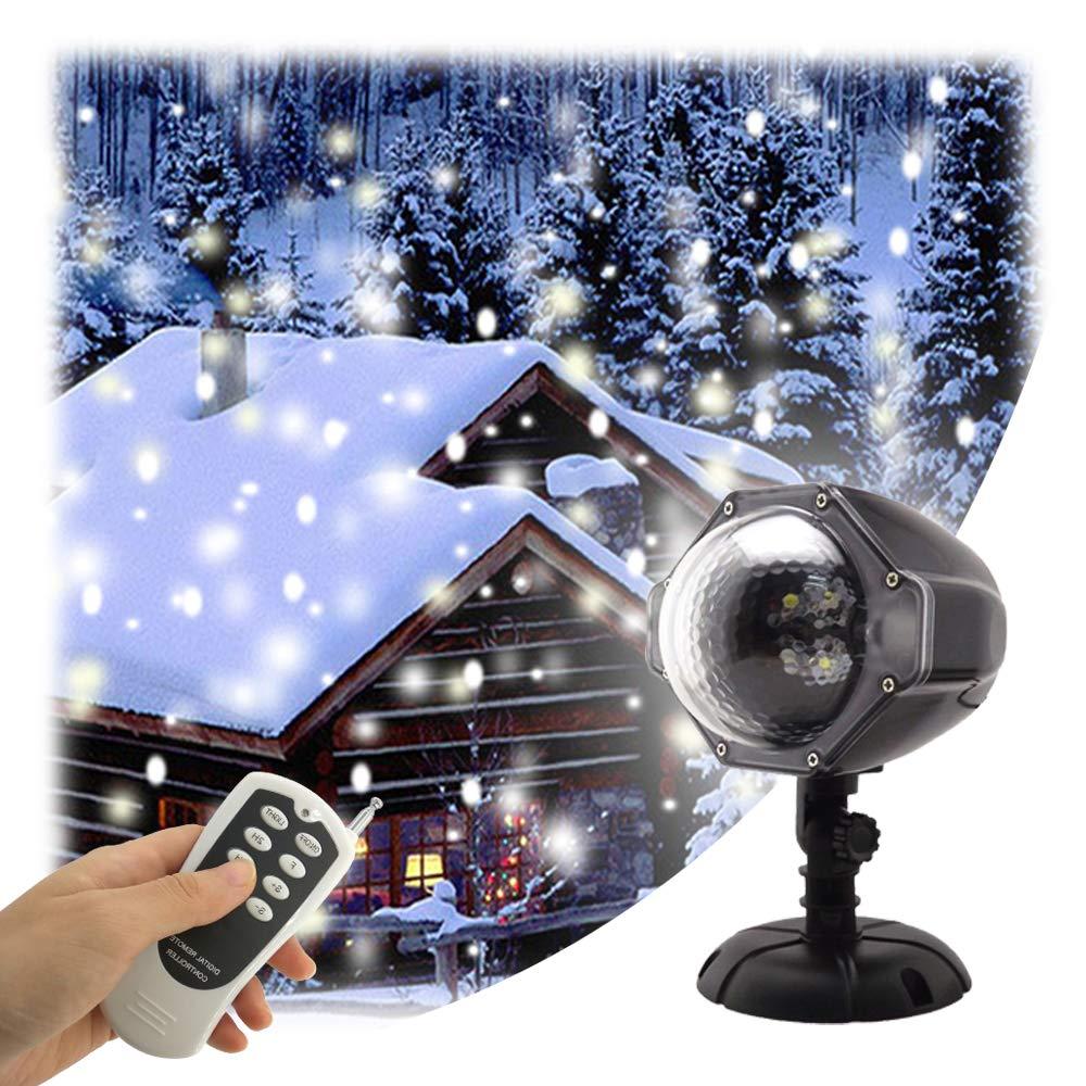 GAXmi LED Schneefall Licht Fernbedienung Scheinwerfer Weihnachtsbeleuchtung Aussen Projektor Weiße Schneeflocke Strahler Schnee Weihnachtsdeko Beleuchtung GAXmi-YKXXD003