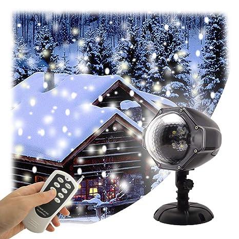 Luz de la caída de nieve del LED Control remoto Navidad Nieve Luces de la noche Niebla Blanca del Floco de Nieve Proyector Rotativo Exterior Interior