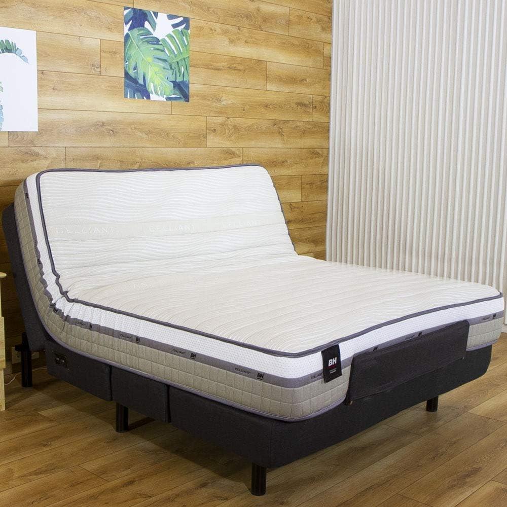 BH Ulti-Mate Cama articulada 150 x 200 cm – Colchón viscoelástico y somier tapizado en Tela, Metal/Madera Forrada