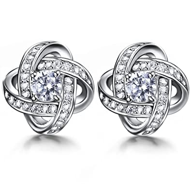 J.SHINE 925 Sterling Silver Stud Earrings for Women Men with 3A 6mm Cubic Zirconia 4 Colors