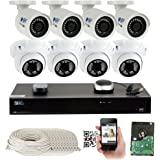 16 Channel H.265 4K NVR 5MP (2592 x 1920) Network PoE Security Camera System - 5MP 1920p Weatherproof 4 Bullet & 4 Dome IP Cameras w/2TB Hard Drive