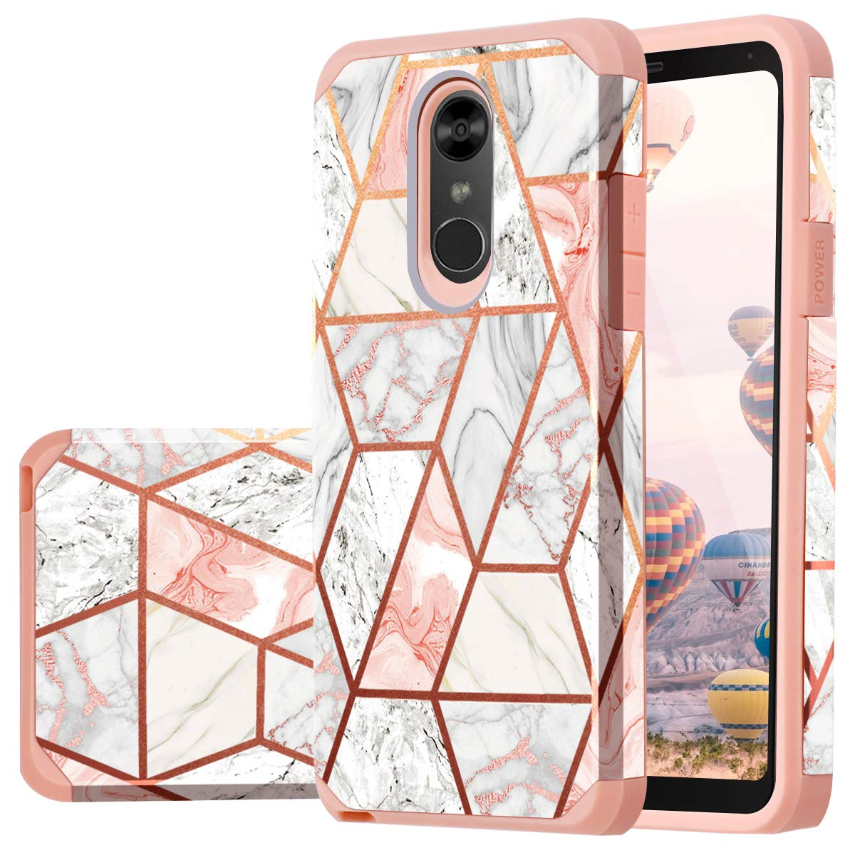 Fingic LG Stylo 4 Case, LG Stylus 4 Case, LG Stylo 4 Plus Case,LG Q Stylus Case, Rose Gold Marble Design Glitter Bumper Hard PC Soft Rubber Shockproof Protective Phone Case Cover for LG Stylo 4 2018