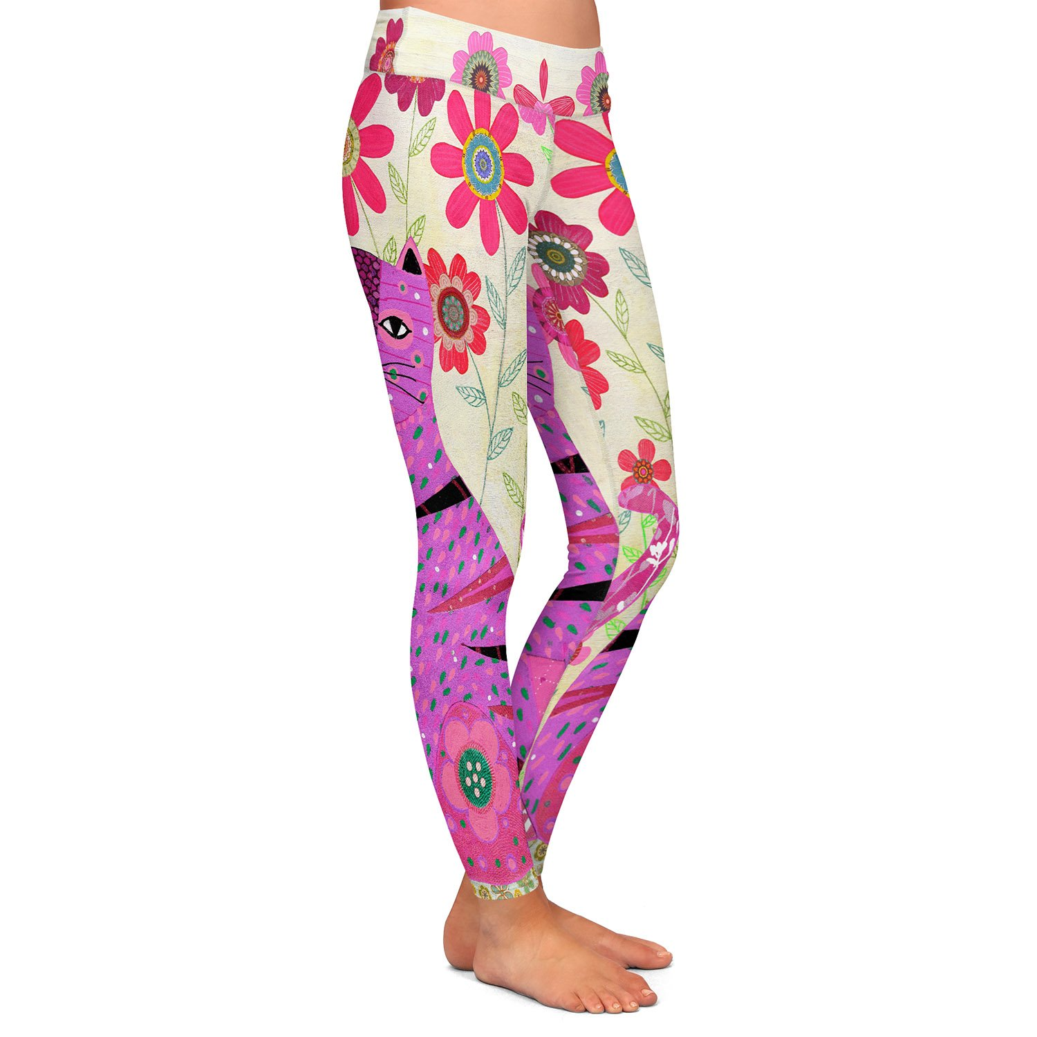 Athletic Yoga Leggings from DiaNoche by Sascalia Retro Flowers Purple Cat