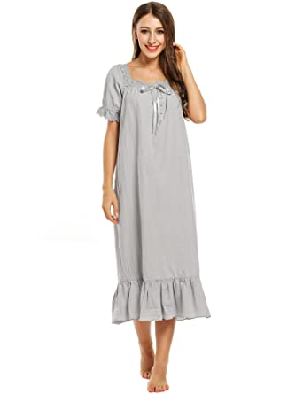 15822581a1 Avidlove Womens Nightdress Cotton Long Sleeve Embroidered Victorian  Nightshirt  Amazon.co.uk  Clothing