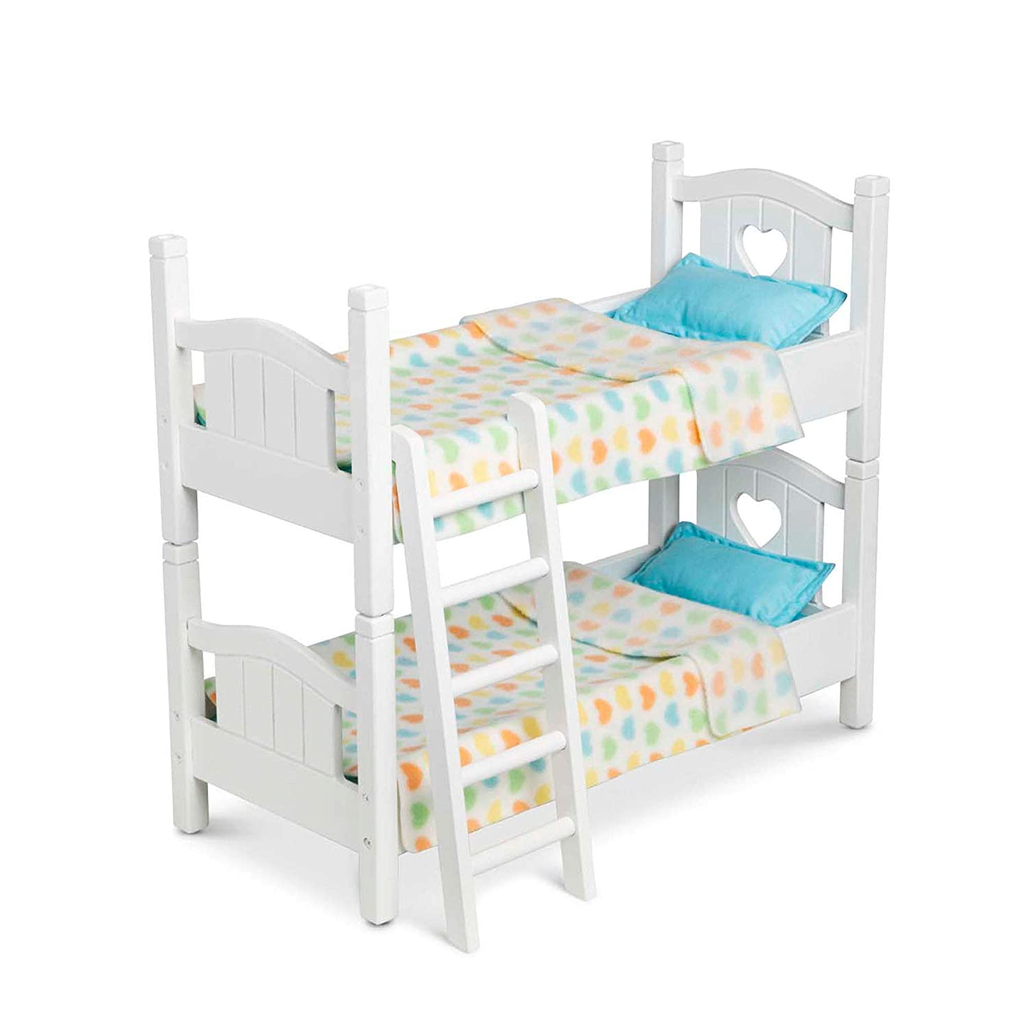 Melissa & Doug Mine to Love Wooden Play Bunk Bed for Dolls, Stuffed Animals - White (2 Beds, Assembled and Stacked, Great Gift for Girls and Boys - Best for 3, 4, 5 Year Olds and Up)
