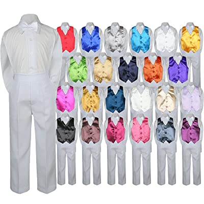 b9a093943 4pc Baby Toddler Boy Teen Formal Suit WHITE Pants Shirt Vest Bow tie Set SM-