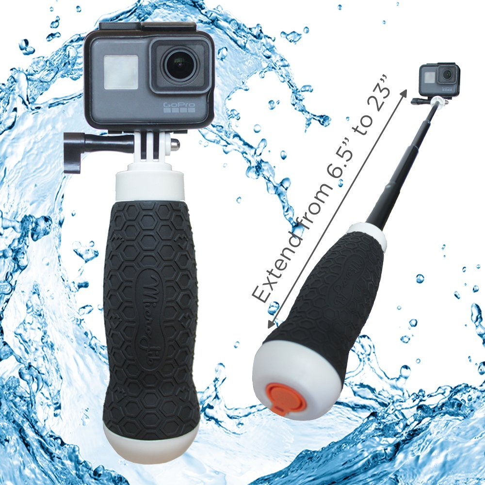 Waterproof Extendable Hand Grip + Floating GoPro Pole 6.5-23'' (for Hero 6, Hero 5, Hero 4, Session and Fusion) | Flow by MicroJib