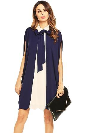 fa3bd69710 Miageek Womens Batwing Sleeve Patchwork Peter Pan Collar Tie-Bow Loose  Cloak Shirt Dress