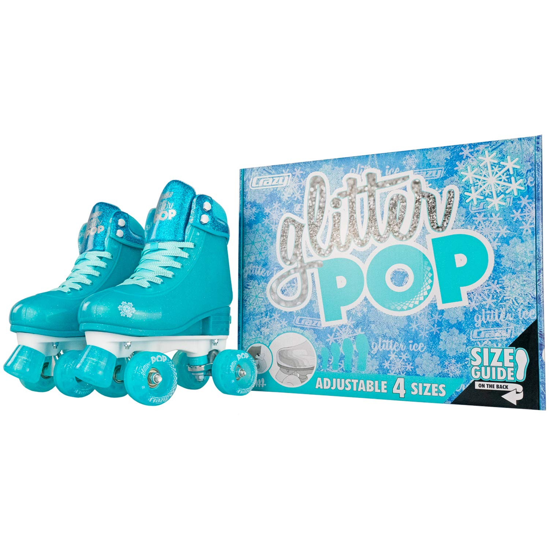 Crazy Skates Glitter POP Adjustable Roller Skates for Girls and Boys   Size Adjustable Quad Skates That Fit 4 Shoe Sizes   Teal (Sizes jr12-2) by Crazy Skates (Image #5)