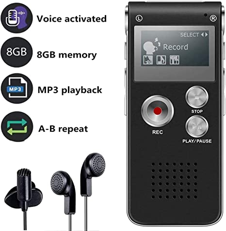 Grabadora de Voz Digital Multifuncional Portátil Recaegable USB con Reproductor de Mp3 para Entrevistas, Reuniones, Clases: Amazon.es: Hogar
