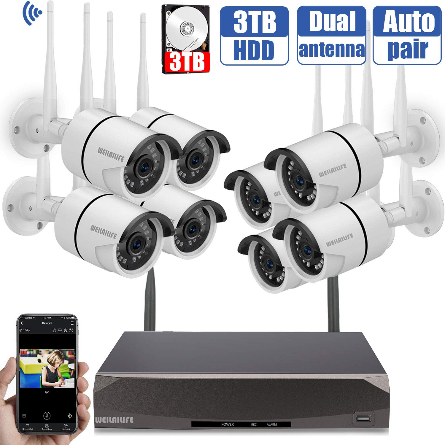 Security Camera System Wireless,8 Channel Home Outdoor Wireless Surveillance Camera System and 8Pcs 960P WiFi Security Weatherproof IP Camera with Night Vision,Remote View,3TB Hard Drive by WEILAILIFE