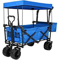 Push and Pull Collapsible Utility Wagon, Heavy Duty Folding Portable Hand Cart with Removable Canopy, 7€œ All-Terrain Wheels, Adjustable Handles and Double Fabric for Shopping, Picnic, Beach, Camping