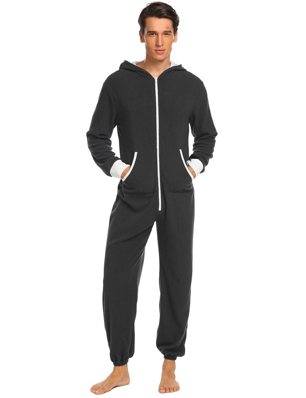 Cargo Bay Mens Onezee Nightwear Sherpa Fleece All in One Hood Onesie Collection